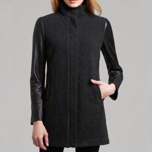 EILEEN FISHER • Brown High Collar Wool Coat